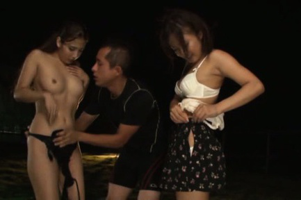Japanese av model. Titillating AV Model kisses with a man while her friend gets naked
