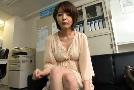 Yukina. Yukina Asian doll shows excited legs and hot cleavage while signing