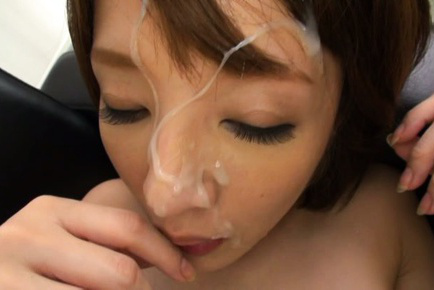 Yukina. Yukina Asian has crack rubbed and gets cumshot on face after frigging