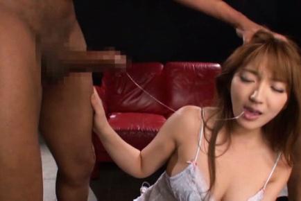 Shiori kamisaki. Shiori Kamisaki with horny legs has ears bitten and sucks boners