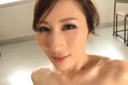 JULIA Asian gets money shot on big cans after sucking tool in classroom. Japanese beauty JULIA