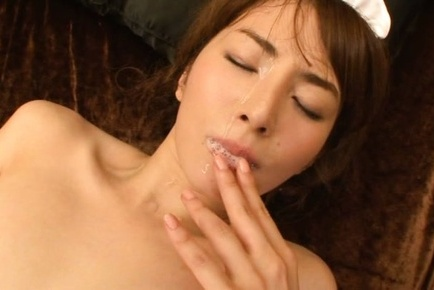 Miku ohashi. Miku Ohashi Asian in long socks has cumshot on