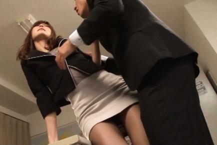 Ichika Kanhata Asian in tight skirt has legs touched over nylon. Japanese beauty Ichika Kanhata