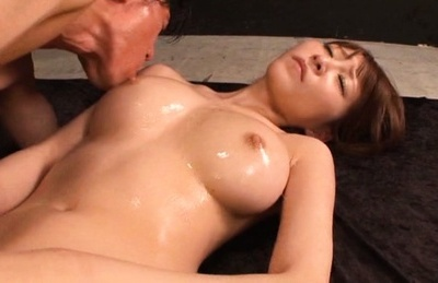 Rei aimi. Rei Aimi Asian has nipples of oiled breasts sucked and clit rubbed