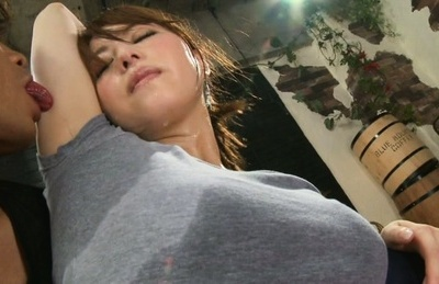 Akiho yoshizawa. Akiho Yoshizawa Asian all sweaty is licked in gym exercises