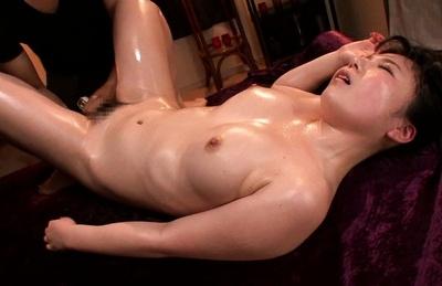 Jun mamiya. Jun Mamiya Asian with oiled curves gets dildos in bottom and snatch