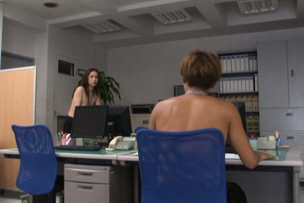 Yurie matsushima. Yurie Matsushima Asian topless in office pants wants fellow dick