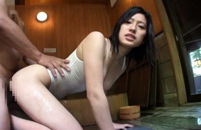 Chikusa Matsuyama Asian with hot rack gets doggy under bath suit. Japanese beauty Chikusa Matsuyama