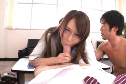 Jessica Kizaki Asian with specs is doggy screwed while sucks dick. Japanese beauty Jessica Kisaki