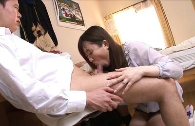 Nana Aoyama gets ready to suck prick like a naugthy bimbo in heats. Japanese beauty Nana Aoyama