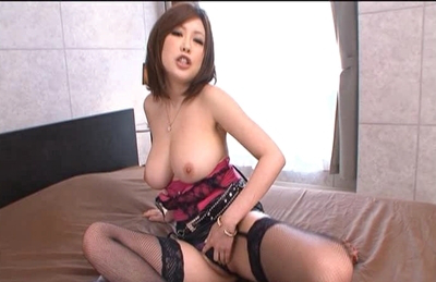 Rio Hamasaki Asian doll in lingerie and stockings exposes her huge boobies. Japanese beauty Rio Hamasaki