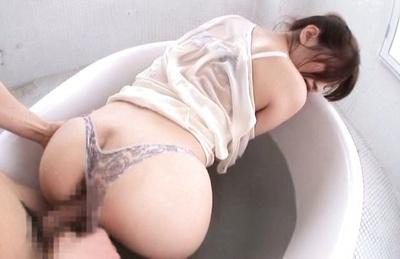Azusa Akane Asian gets phallus in hole under thong in bathtub. Japanese beauty Azusa Akane