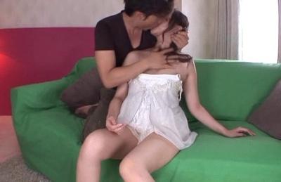 Ririko Aise Asian is kissed while having white dress taking off. Japanese beauty Ririko Aise