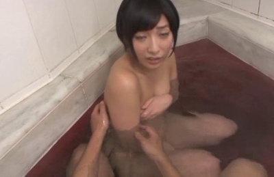 Mao Hamasaki Asian girl is bathing with her hot man and touched. Japanese beauty Mao Hamasaki