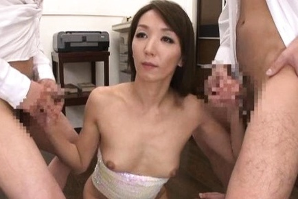 Shiho Asian gets semen on out of bra cans after stroking hoses. Japanese beauty Shiho