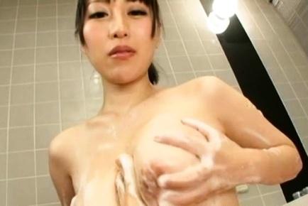 Yuuna Hoshisaki Asian puts hunk foot on her big and soaped rack
