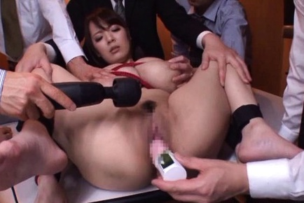 Hitomi Asian with huge melons in ropes has vibrators on and in cooch. Japanese beauty Hitomi
