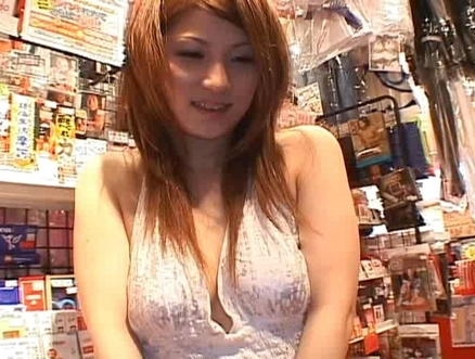 Rinoa Hinata plays with guys in a sex toy store for fun