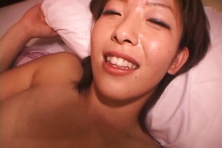 Naho Kuroki Asian has shower and teats of big hooters sucked