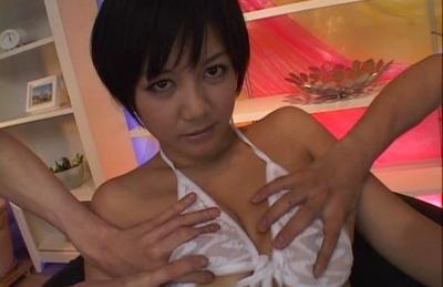 Meguru Kosaka is groped through her sheer bra and panties. Japanese beauty Meguru Kosaka
