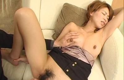 Koharu has her rack touched as her he fingers her cooch. Japanese beauty Koharu