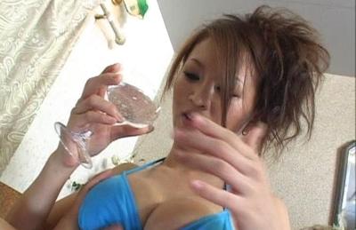 Yuki Touma removes her bikini and has her mammillas pinched. Japanese beauty Yuki Touma