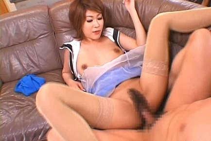 Miori Hoshi having sex with her dude while in uniform. Japanese beauty Miori Hoshi